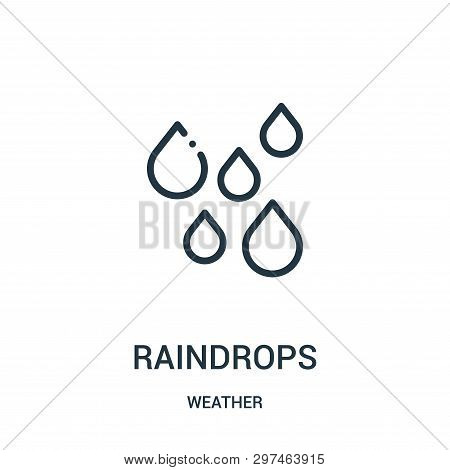 Raindrops Icon Isolated On White Background From Weather Collection. Raindrops Icon Trendy And Moder