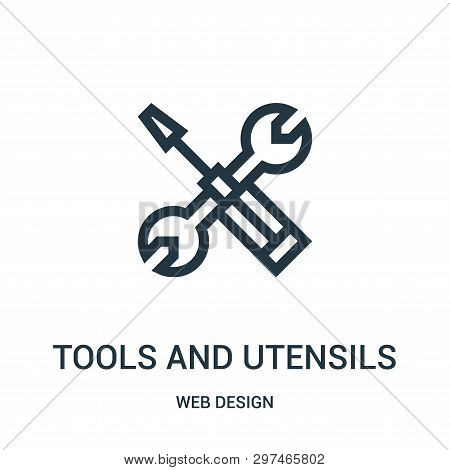 Tools And Utensils Icon Isolated On White Background From Web Design Collection. Tools And Utensils