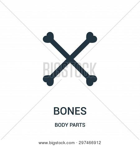 Bones Silhouette Forming A Cross Symbol Icon Isolated On White Background From Body Parts Collection