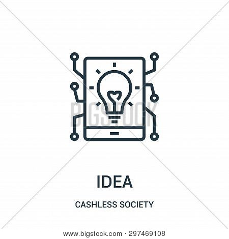 Idea Icon Isolated On White Background From Cashless Society Collection. Idea Icon Trendy And Modern