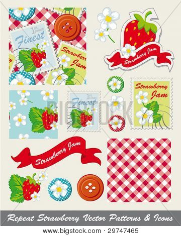 Pretty strawberry repeat patterns and icons. Use to print onto fabric for home textiles, jam making or as backgrounds for other decor projects.