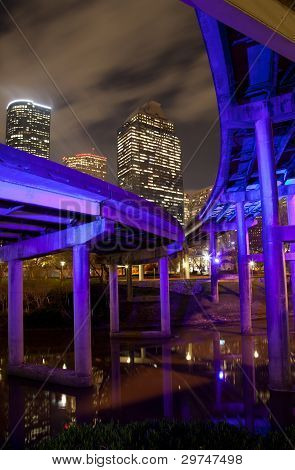 Overpass and downtown Houston