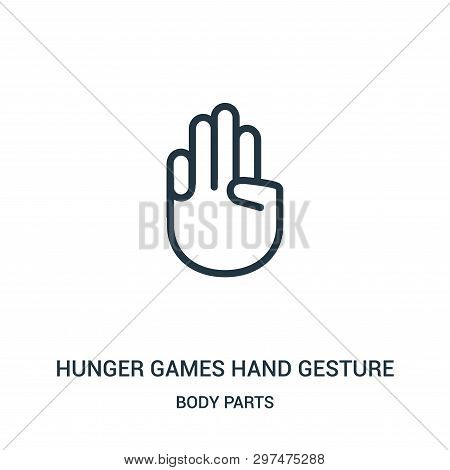 Hunger Games Hand Gesture Icon Isolated On White Background From Body Parts Collection. Hunger Games