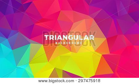 Triangle Polygonal Abstract Geometric Background. Colorful Gradient Design. Low Poly Shape Banner. V