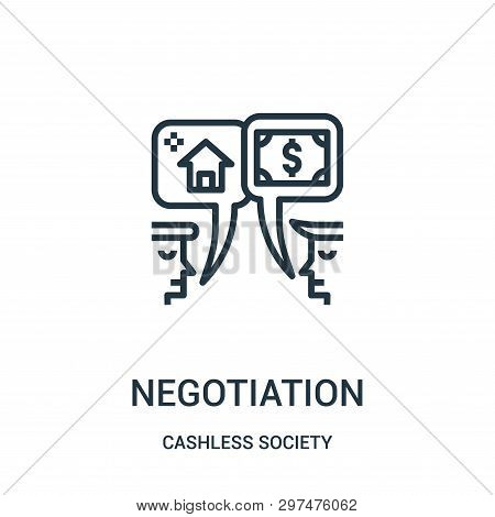 Negotiation Icon Isolated On White Background From Cashless Society Collection. Negotiation Icon Tre