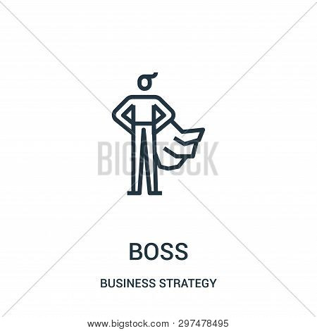 Boss Icon Isolated On White Background From Business Strategy Collection. Boss Icon Trendy And Moder