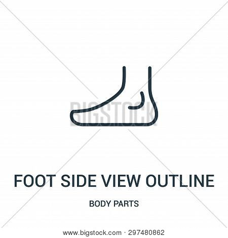 Foot Side View Outline Icon Isolated On White Background From Body Parts Collection. Foot Side View