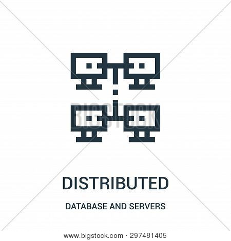 Distributed Icon Isolated On White Background From Database And Servers Collection. Distributed Icon