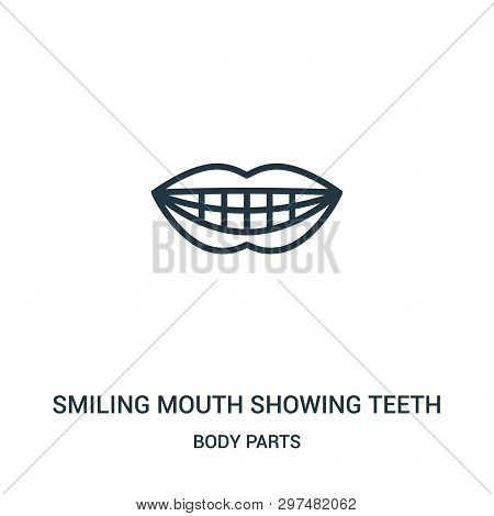 Smiling Mouth Showing Teeth Icon Isolated On White Background From Body Parts Collection. Smiling Mo