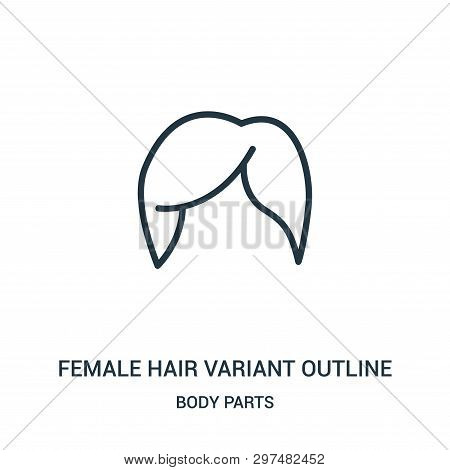 Female Hair Variant Outline Icon Isolated On White Background From Body Parts Collection. Female Hai
