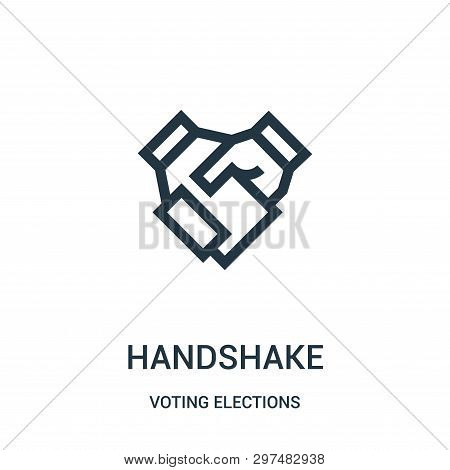 Handshake Icon Isolated On White Background From Voting Elections Collection. Handshake Icon Trendy