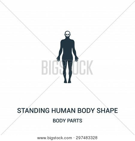 Standing Human Body Shape Icon Isolated On White Background From Body Parts Collection. Standing Hum