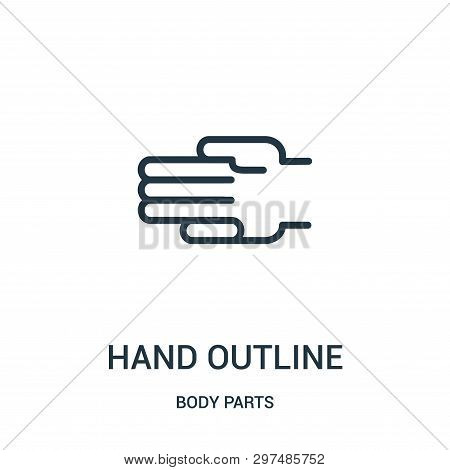 Hand Outline Icon Isolated On White Background From Body Parts Collection. Hand Outline Icon Trendy