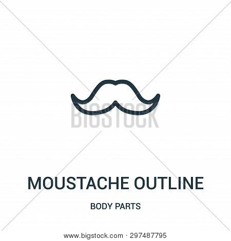 Moustache Outline Icon Isolated On White Background From Body Parts Collection. Moustache Outline Ic