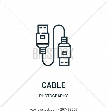 Cable Icon Isolated On White Background From Photography Collection. Cable Icon Trendy And Modern Ca