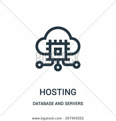 Hosting Icon Isolated On White Background From Database And Servers Collection. Hosting Icon Trendy