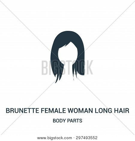 Brunette Female Woman Long Hair Icon Isolated On White Background From Body Parts Collection. Brunet