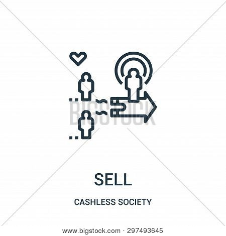 Sell Icon Isolated On White Background From Cashless Society Collection. Sell Icon Trendy And Modern