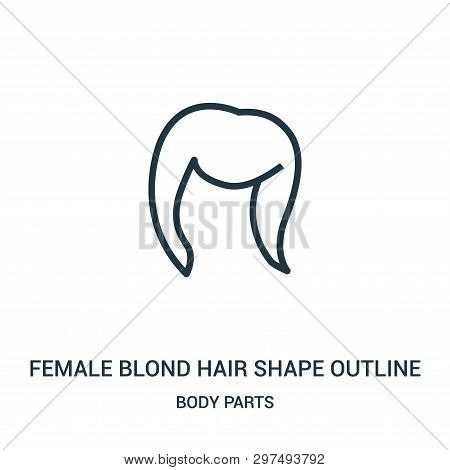 Female Blond Hair Shape Outline Icon Isolated On White Background From Body Parts Collection. Female