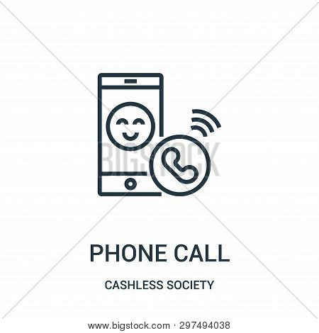 Phone Call Icon Isolated On White Background From Cashless Society Collection. Phone Call Icon Trend