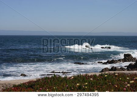 This Is An Image Of The Shoreline Taken In Pacific Grove, California In Early Morning April Sunshine