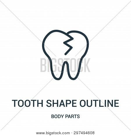 Tooth Shape Outline Icon Isolated On White Background From Body Parts Collection. Tooth Shape Outlin