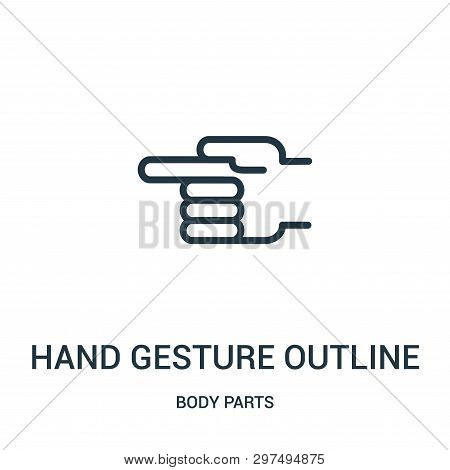 Hand Gesture Outline Pointing To The Left Icon Isolated On White Background From Body Parts Collecti