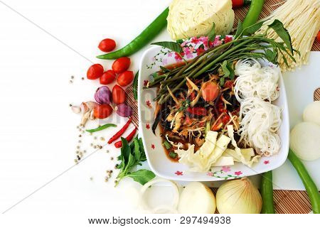 Thai Spicy Salad, Crab Salad, Pickled Seafood. Famous Food In Thailand.
