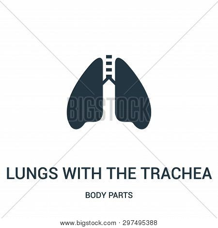 Lungs With The Trachea Icon Isolated On White Background From Body Parts Collection. Lungs With The