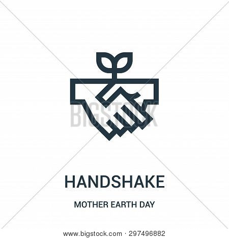 Handshake Icon Isolated On White Background From Mother Earth Day Collection. Handshake Icon Trendy