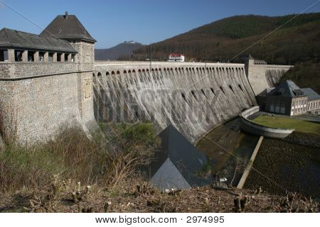 The dam of lake Edersee in northern Hesse Germany. Its with 200 mio cubic meters one of the 3 biggest german reservoirs. This wall is 46m high. poster