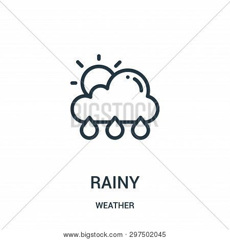 Rainy Icon Isolated On White Background From Weather Collection. Rainy Icon Trendy And Modern Rainy
