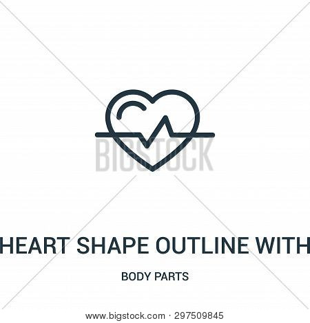Heart Shape Outline With Lifeline Variant Icon Isolated On White Background From Body Parts Collecti