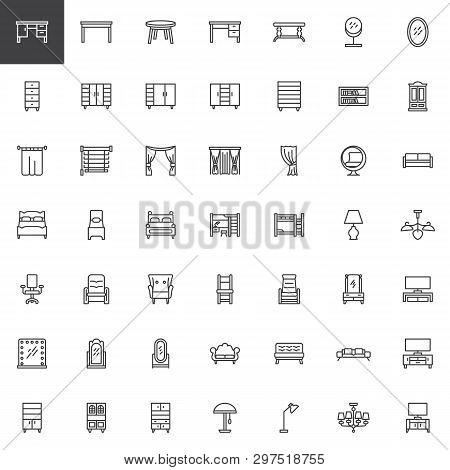 Home Interior Furniture Line Icons Set. Linear Style Symbols Collection, Outline Signs Pack. Vector