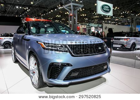 NEW YORK, NY, USA - APRIL 17, 2019: Range Rover Velar at the New York International Auto Show 2019, at the Jacob Javits Center. This was Press Preview Day One of NYIAS