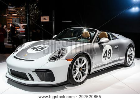 NEW YORK, NY, USA - APRIL 17, 2019: Porsche 911 Speedster at the New York International Auto Show 2019, at the Jacob Javits Center. This was Press Preview Day One of NYIAS