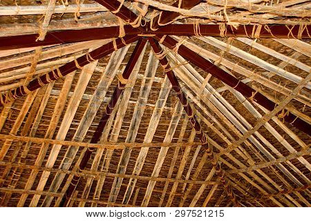 View Of Inner Roof Covered With Bamboo Strip Supports At Madhuvana Village Park Near Bengaluru In Ka