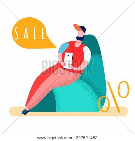 Man Shopping Online At Home Vector Illustration. Sale Word In Speech Bubble. Guy Ordering Goods With