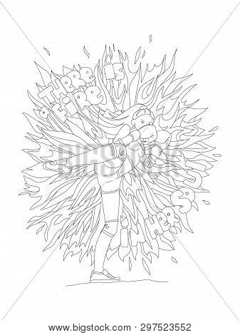 Cute Hand Draw Coloring Page With Brave Girl. Feminist Zen Art Vector Illustration For Colouring Pag