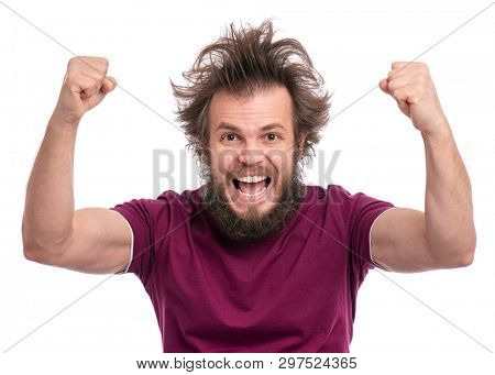 Happy winner. Crazy bearded Man with funny Haircut celebrating his success. Guy make victory gesture, screaming and keeping mouth open, isolated on white background.