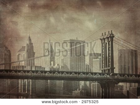 vintage grunge image of new york city poster