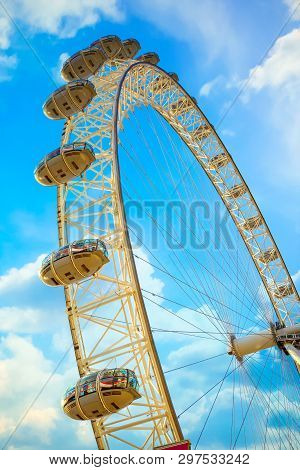 London, Uk - May 13 2018: The London Eye Is A Cantilevered Observation Wheel On The River Thames, It