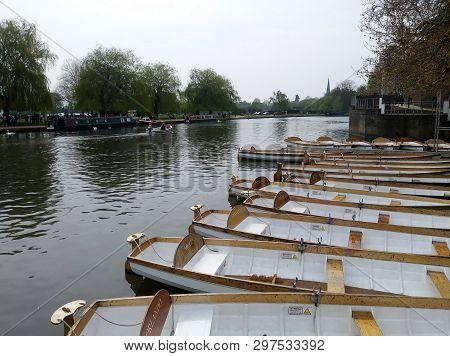 Stratford Upon Avon, England. - Circa April 2019 - Empty Row Boats Await The Summer Tourists On The