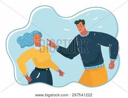 Vector Cartoon Illustration Of People. Aggressive Man Yelling At Woman, Angry Husband, Psychological