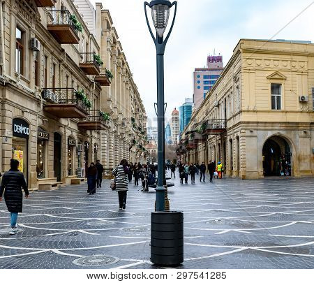 Baku, Azerbaijan - April 13, 2019: People Walking On Nizami Street