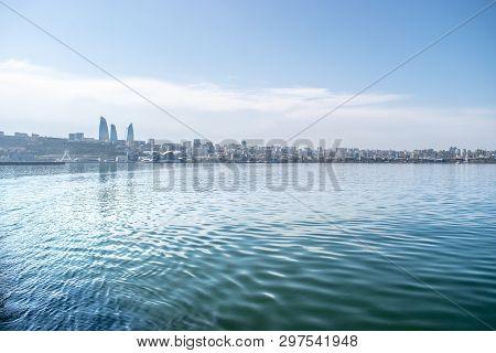 Baku, Azerbaijan - April 13, 2019: Baku Flame Towers Is The Tallest Skyscraper In Baku, Azerbaijan