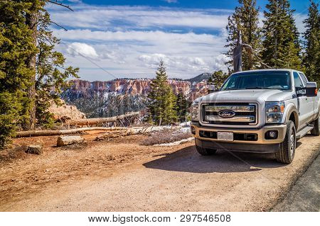 The Famous Off-road Ford Vehicle In Bryce Canyon National Park, Utah