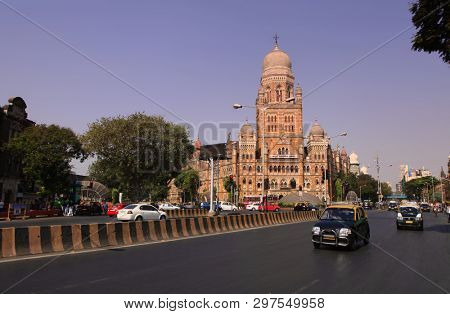 Mumbai, INDIA - December 6 : Historic Mumbai city corporation building in Mumbai India, on December 6,2015 Mumbai, India