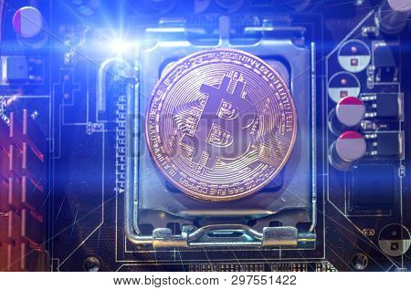 Silver bitcoin coin. Bitcoin cryptocurrency. Blockchain technology and bitcoin mining concept, closeup of bitcoin