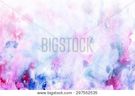 Abstract Watercolor Background For Your Design. Beautiful Combination Of Pink And Blue Colors. Grung